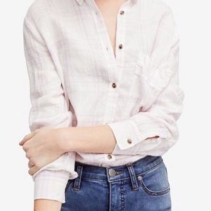 NWT Free People no limits plaid linen button down